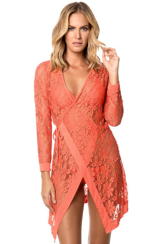 Tie Up Long Sleeves Lace Bathing Suit Beachwear LAVELIQ