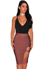 Peach Gold Button Slit Bandage Skirt LAVELIQ