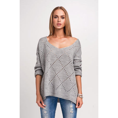 Grey Blue Pattern Plus Size Sweater LAVELIQ