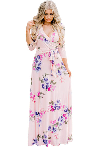Pink Blooming Flower Print Wrap Dress LAVELIQ