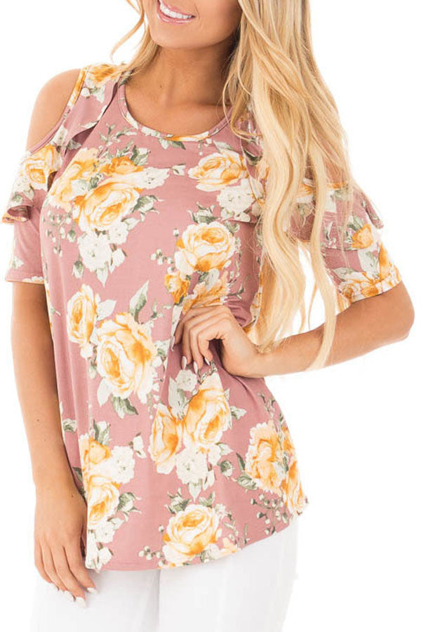 Pink Floral Cold Shoulder Top With Ruffle Sleeve LAVELIQ