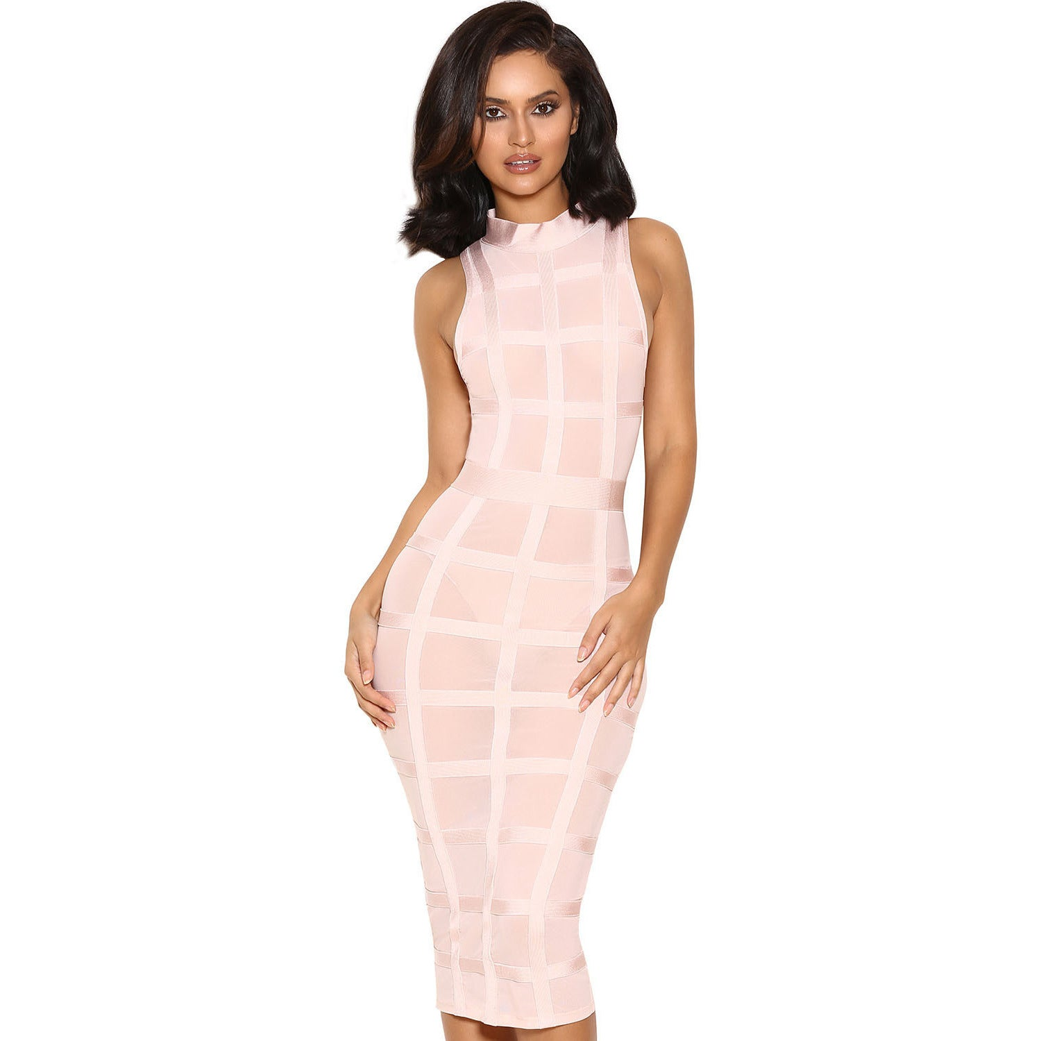 Cute Pink Grid Frock Bandage Dress LAVELIQ SALE - LAVELIQ - 1