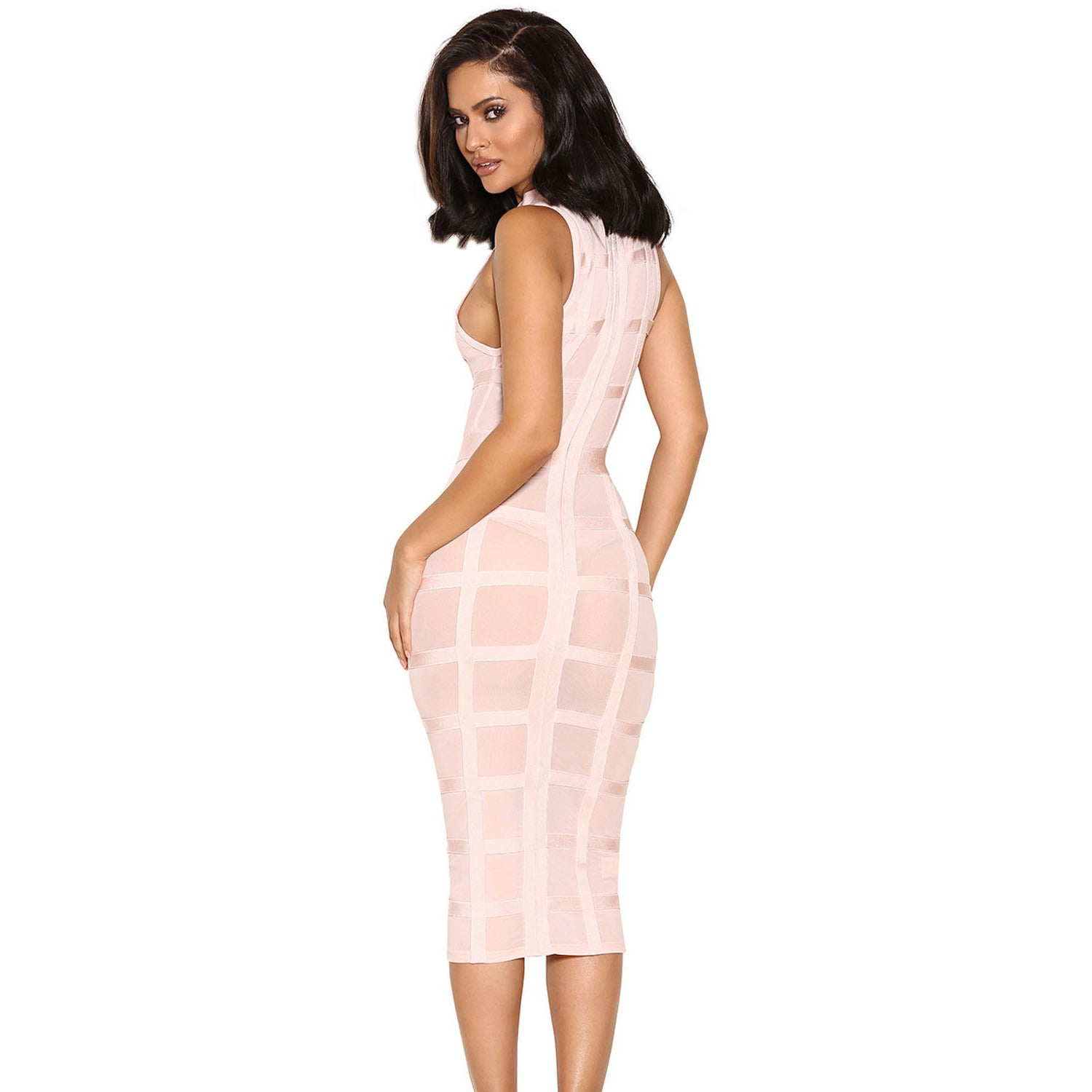 Cute Pink Grid Frock Bandage Dress LAVELIQ SALE - LAVELIQ - 2