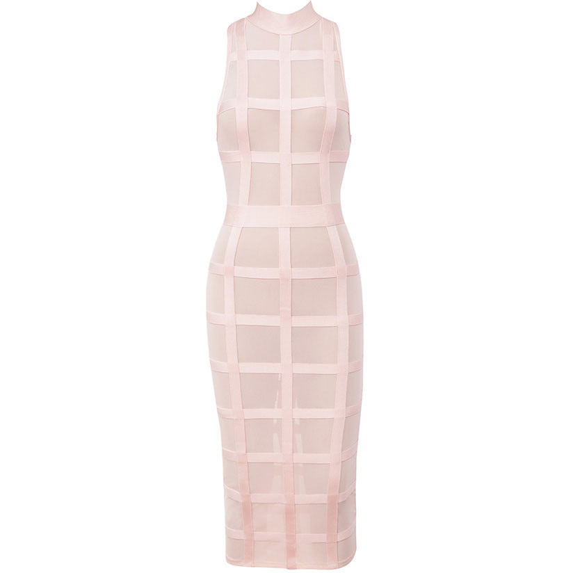 Cute Pink Grid Frock Bandage Dress LAVELIQ SALE - LAVELIQ - 3