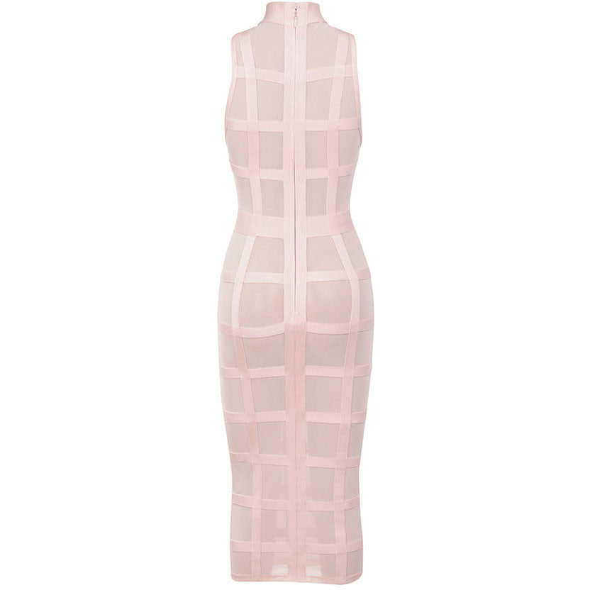 Cute Pink Grid Frock Bandage Dress LAVELIQ SALE - LAVELIQ - 4
