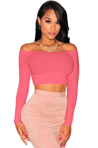 Off-The-Shoulder Knit Crop Top LAVELIQ