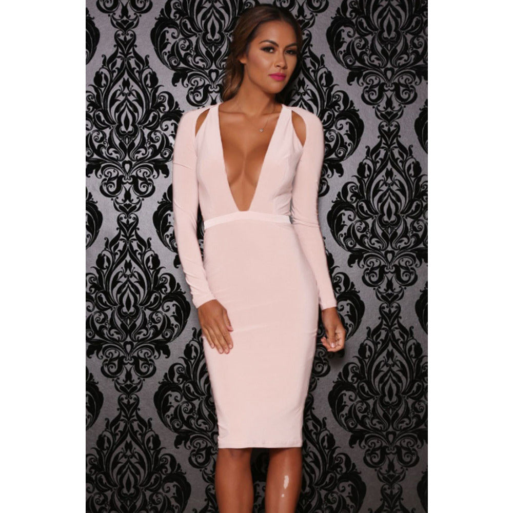 Pink Cutout Long-Sleeve Jersey Dress LAVELIQ - LAVELIQ - 1