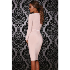 Pink Cutout Long-Sleeve Jersey Dress LAVELIQ - LAVELIQ - 2