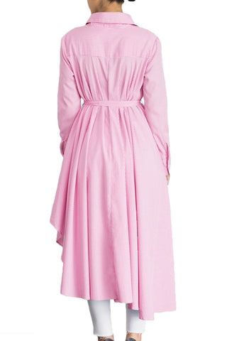 Pink Striped High Low Belted Midi Dress LAVELIQ