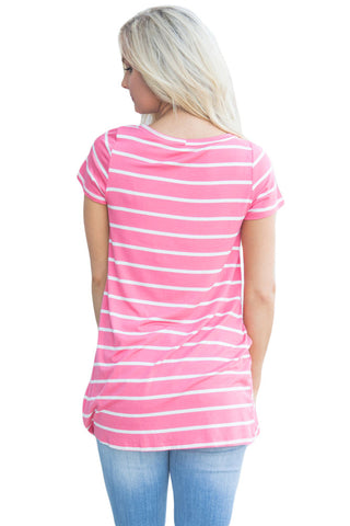 Pink White Stripe Front Knot Short Sleeves Tee LAVELIQ
