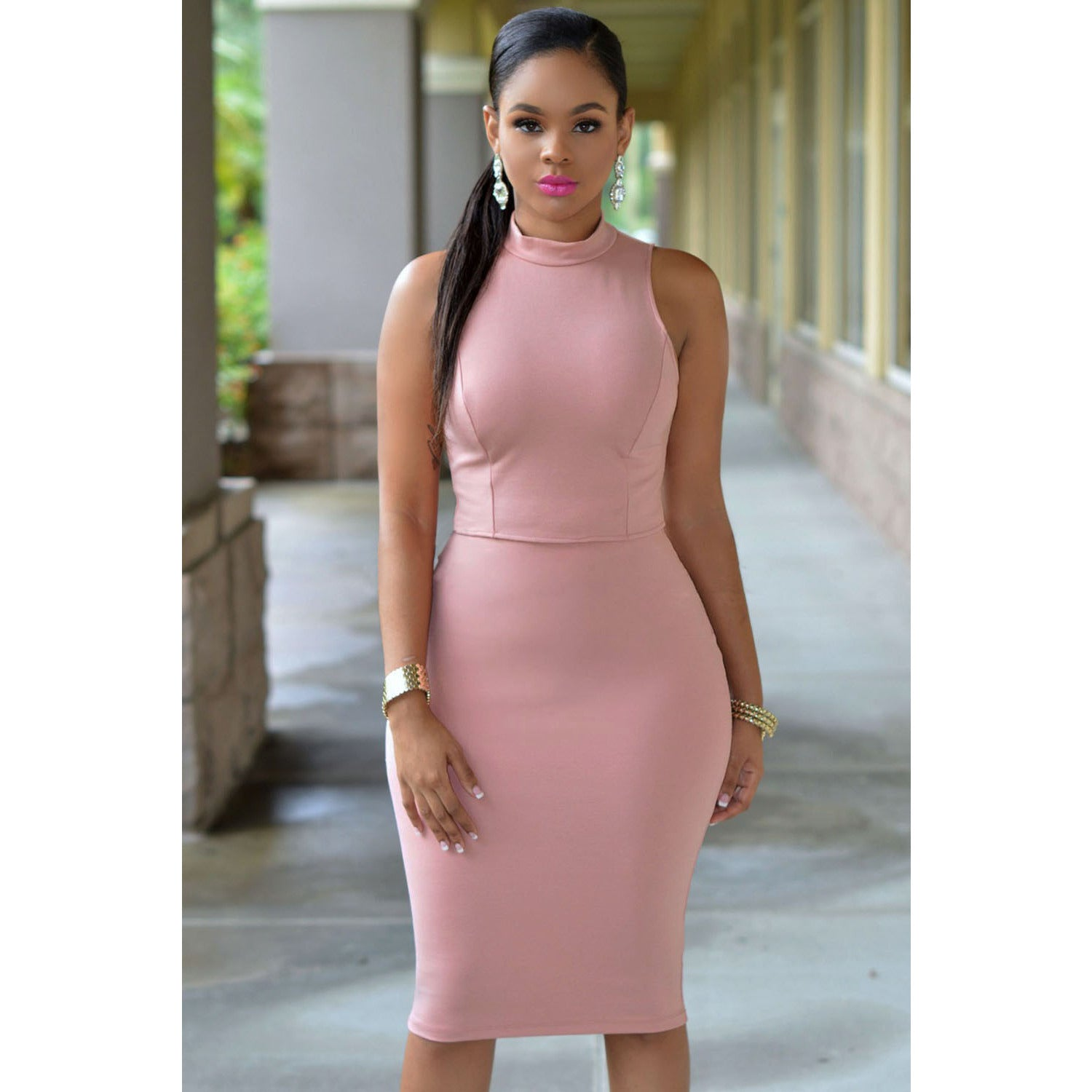 Pink Cutout Back Neck Midi Dress Sale LAVELIQ - LAVELIQ - 1