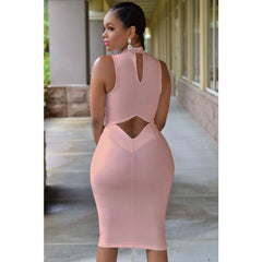Pink Cutout Back Neck Midi Dress Sale LAVELIQ - LAVELIQ - 2