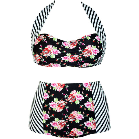 Plus Floral Striped With Padded Bikini Swimsuit LAVELIQ
