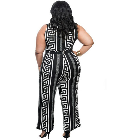 Plus Size Black Print Gold Belted Jumpsuit LAVELIQ