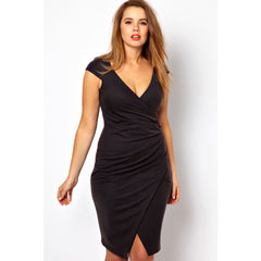 Plus Size Black Midi Dress Sale LAVELIQ - LAVELIQ - 1