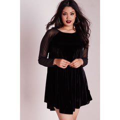 Plus Size Velvet Sleeve Swing Dress Sale LAVELIQ - LAVELIQ - 1
