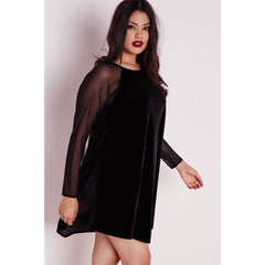 Plus Size Velvet Sleeve Swing Dress Sale LAVELIQ - LAVELIQ - 2