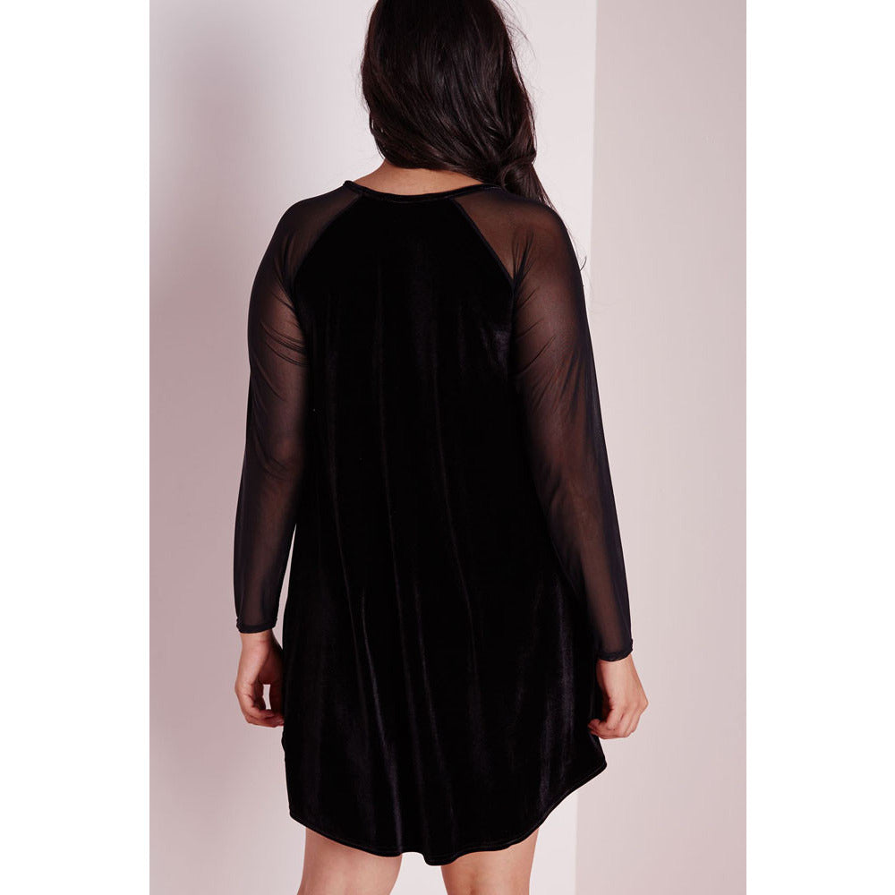 Plus Size Velvet Sleeve Swing Dress Sale LAVELIQ - LAVELIQ - 3