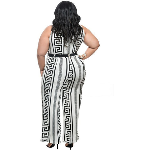 Plus Size White Print Gold Belted Jumpsuit LAVELIQ