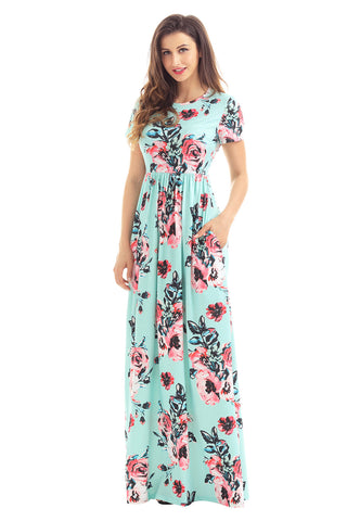 Pocket Design Short Sleeve Mint Floral Maxi Dress LAVELIQ