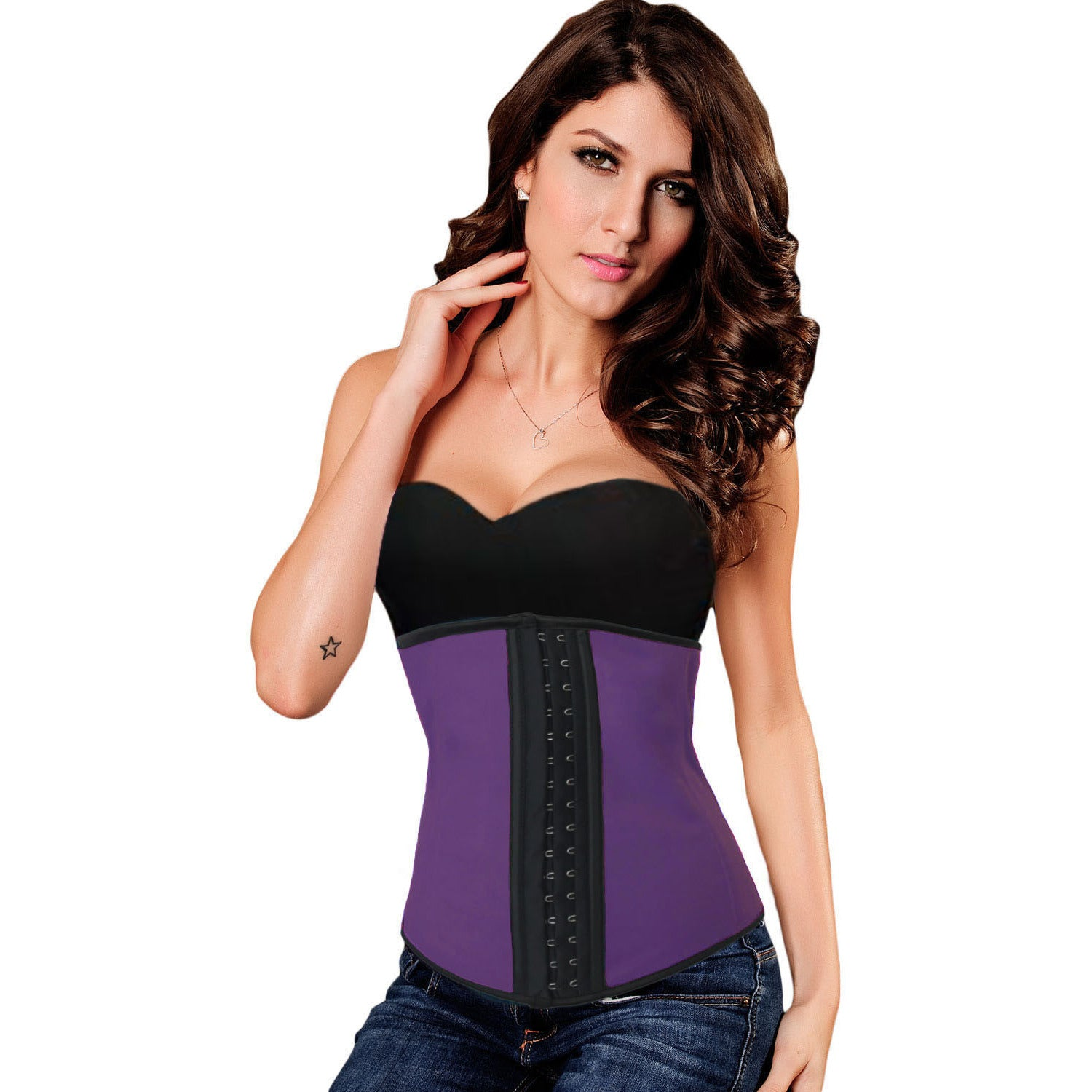 Purple 9 Steel Bones Under Bust Corset LAVELIQ - LAVELIQ - 3