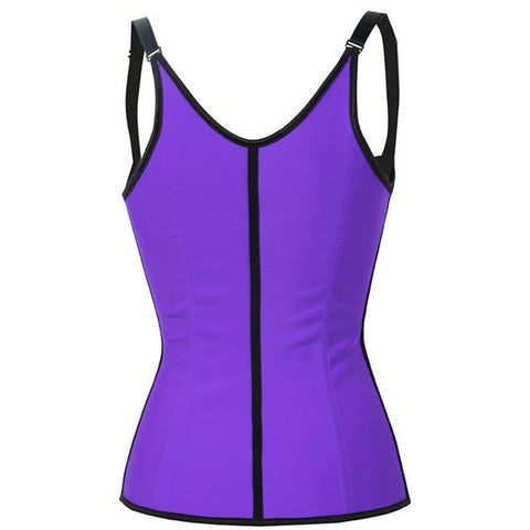 Purple Steel Boned Latex Waist Corset LAVELIQ