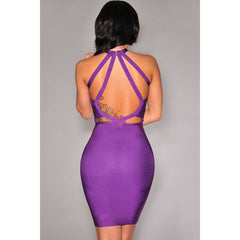 Purple Strappy Cut-Out Bandage Dress LAVELIQ  - LAVELIQ - 2