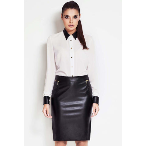 Black Leather Faux High Fashion Skirt LAVELIQ