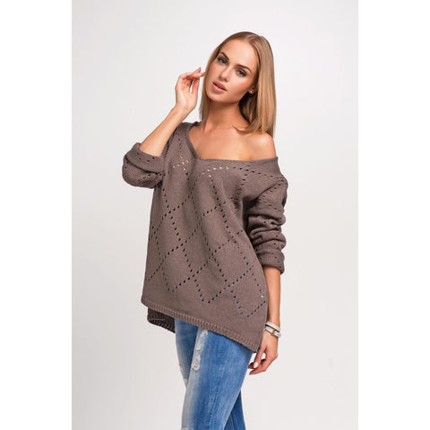 Cappuccino Blue Structure Plus Size Sweater LAVELIQ