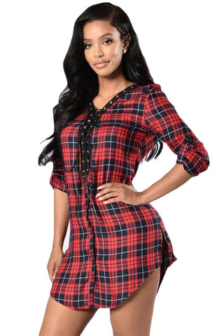 Lace-Up Front Plaid Shirt Dress LAVELIQ