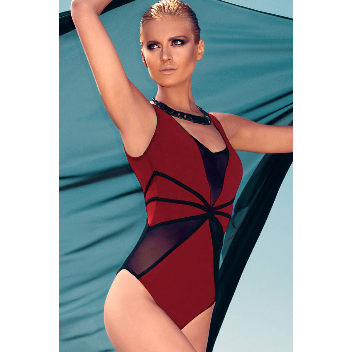 Red Black Mesh Cutout Swimwear LAVELIQ - LAVELIQ - 2