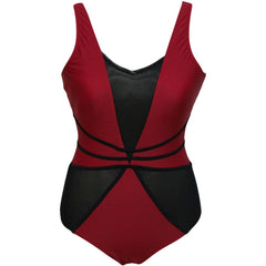 Red Black Mesh Cutout Swimwear LAVELIQ - LAVELIQ - 3