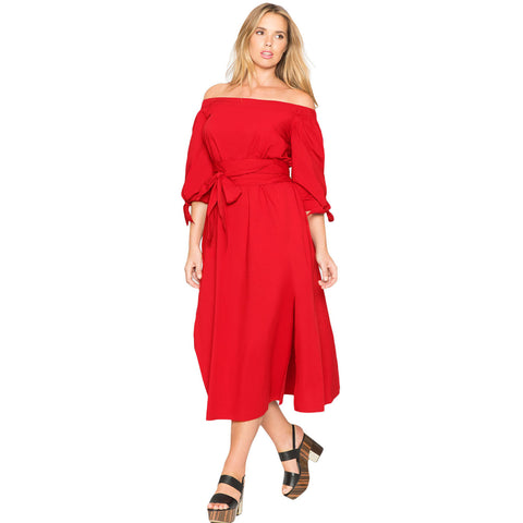 Plus Size Red Off The Shoulder Belted Curvy Midi Dress LAVELIQ