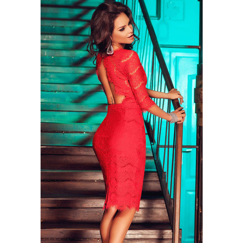 Red Cutout Back Midi Dress Sale LAVELIQ