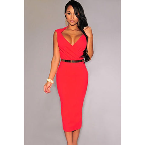 Red Faux Wrap Belted Midi Dress LAVELIQ