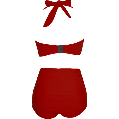 Red Halter Plus Size Swimwear LAVELIQ