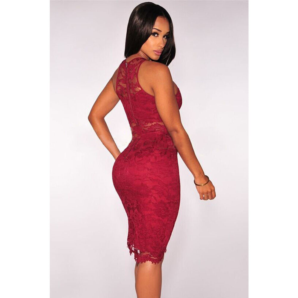 Red Lace Waist Dress LAVELIQ - LAVELIQ - 2