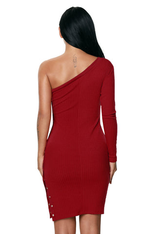 Red One Sleeve Neckline Ribbed Bodycon Dress LAVELIQ SALE