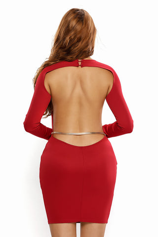 Red Open Back Long Sleeve Belted Mini Dress LAVELIQ SALE