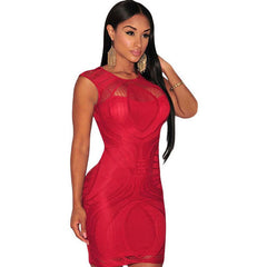 Red Nude Illusion Sleeveless Bodycon Dress LAVELIQ - LAVELIQ - 1