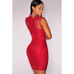 Red Nude Illusion Sleeveless Bodycon Dress LAVELIQ - LAVELIQ - 2