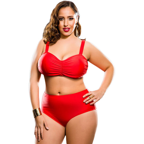 Red High Waist Summer Bikini Plus Size Swimsuit LAVELIQ