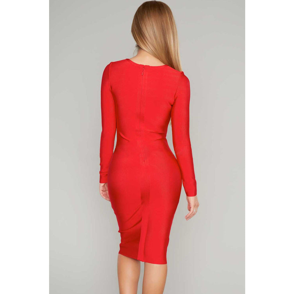 Red Sexy V Neck Criss Cross Bandage Dress LAVELIQ  - LAVELIQ - 2