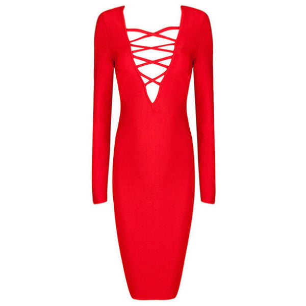 Red Sexy V Neck Criss Cross Bandage Dress LAVELIQ  - LAVELIQ - 3