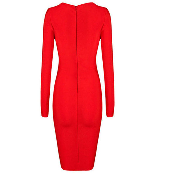 Red Sexy V Neck Criss Cross Bandage Dress LAVELIQ SALE - LAVELIQ - 4