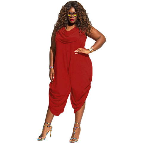 Red Plus Size Loose Fitted Harem Jumpsuit LAVELIQ