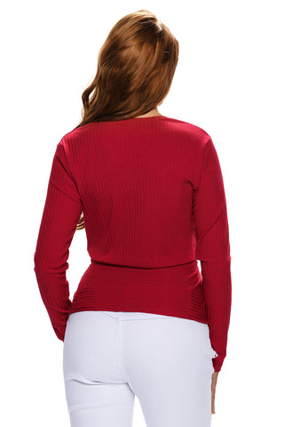 Red Sexy Crop Plunging Cross V Neck Stretch Knitwear Top LAVELIQ