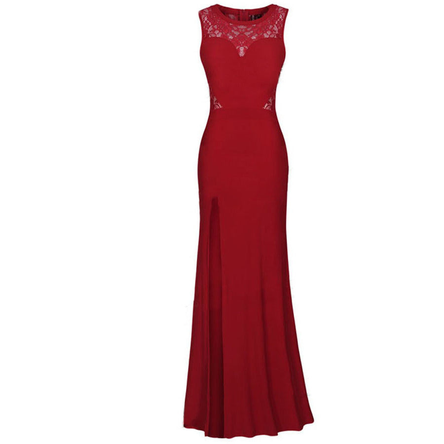Red Lace Party Maxi Evening Dress LAVELIQ - LAVELIQ - 1