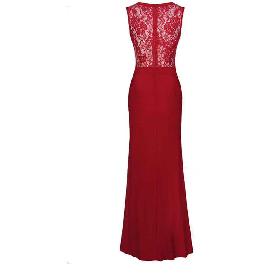 Red Lace Party Maxi Evening Dress LAVELIQ - LAVELIQ - 2