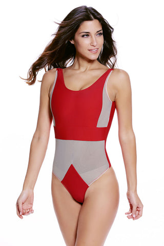 Red Tan Mesh Cutout One Piece Swimsuit LAVELIQ SALE